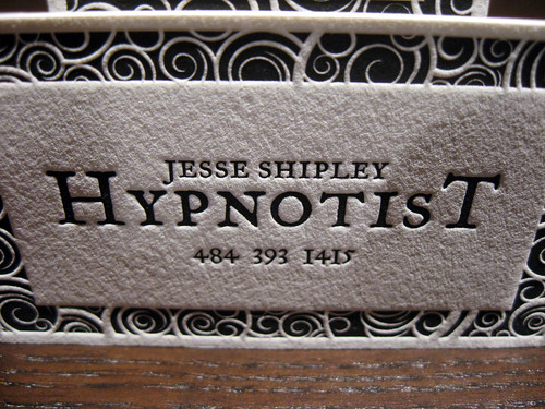 Hypnotist Letterpress Business Cards