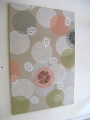 Umbrella Prints 'Floating Circles' (Amy Prior) Tags: flowers white green coral silver design artwork artist linen circles fabric xanadu handprinted australiandesign amyprior carlyschwerdt