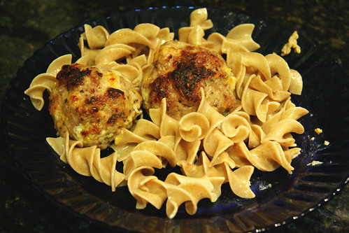 Pork, Apple, and Cheddar Meatballs with Egg Noodles