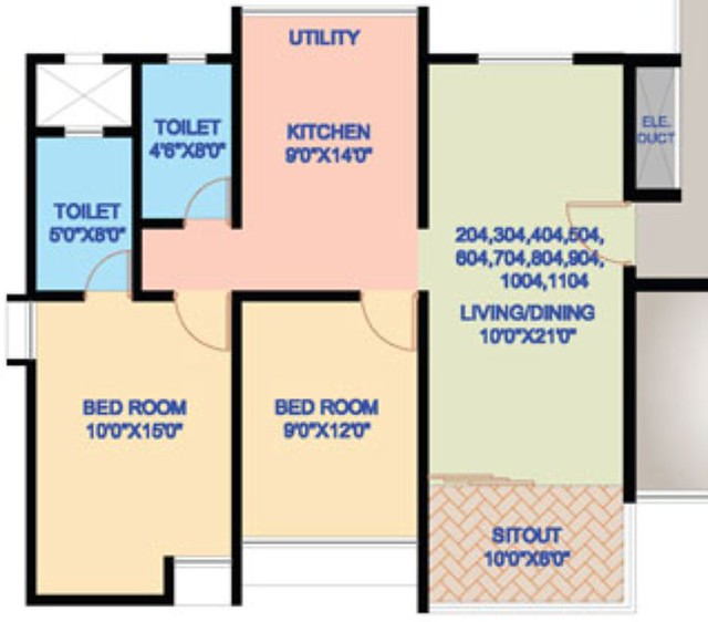 Nanded City Pune, Madhuvanti, 2 BHK Flat, 690 sq.ft. Carpet + 60 sq.ft. Sitout - For Rs. 34.03 Lakhs + Parking + S. T. + VAT