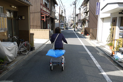 The adult tricycles are quite popular among Kyoto's elderly.