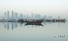 One Fine Morning (Jun Qatar) Tags: morning sea water beautiful misty digital port boat nikon flickr gulf shot fort foggy best corniche doha qatar bestshot d90 80200mmf28 daghfal