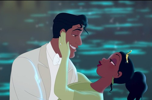 Tiana and Naveen, dancing.