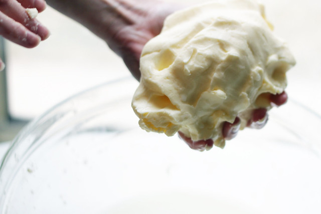 knead the butter ball to remove more liquid