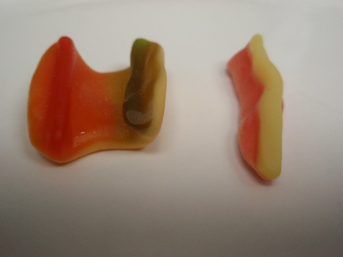gummi hot dog, disassembled