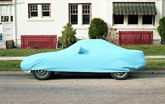 (Eli Craven) Tags: blue color film car analog zeiss 35mm lens kodak hidden contax vehicles covered vehicle g1 portra 45mm tarp planar 400nc