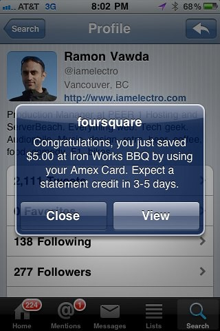 American Express foursquare Reward Push Notification