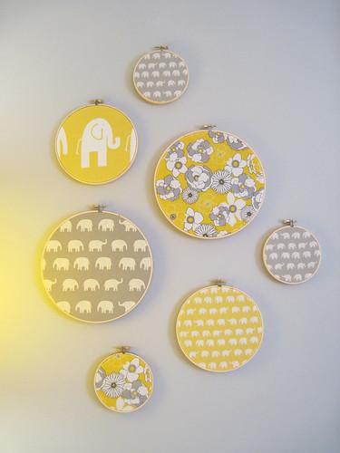 framed fabric embroidery hoop art