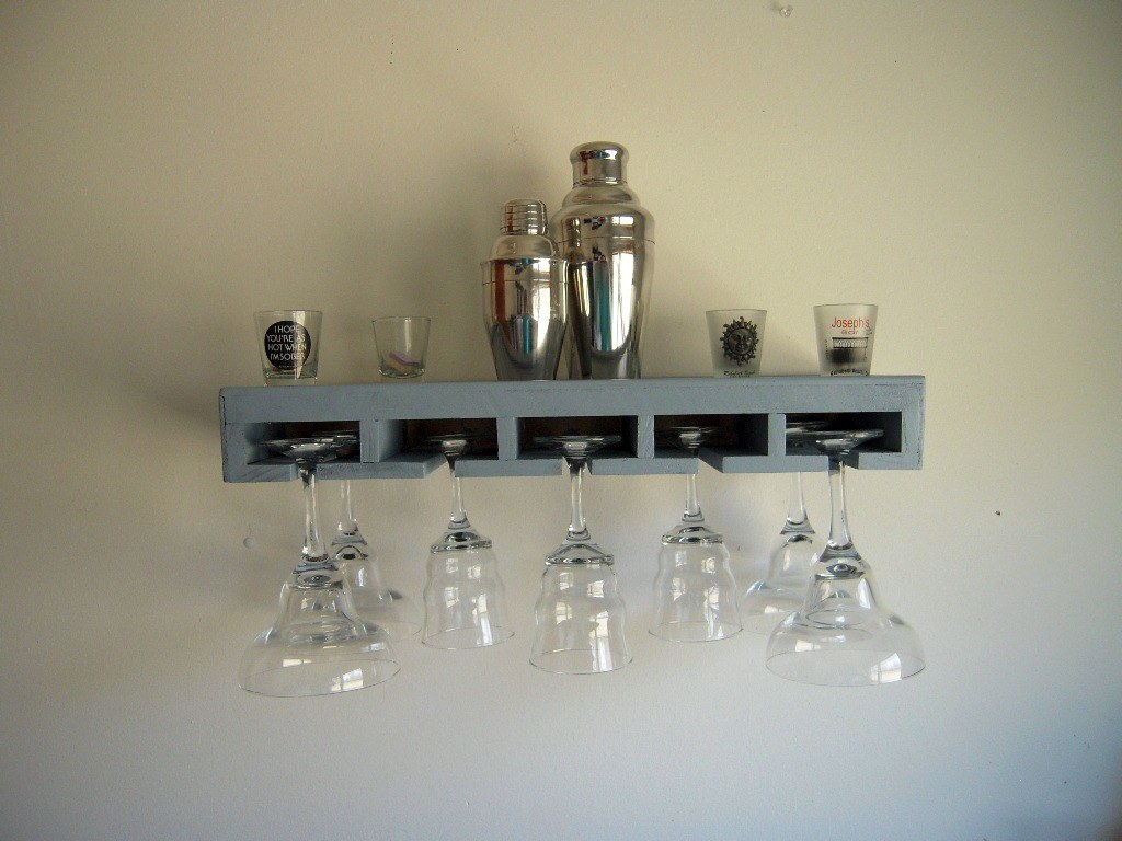 Stemware holder bar shelf in country blue