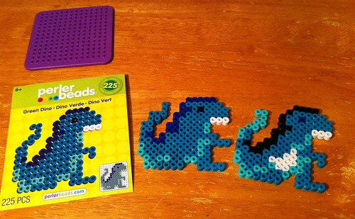 Evolution of Perler bead dinosaur