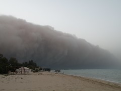 Rolling in (Mink) Tags: sea storm beach weather march sand over sandstorm chalet unusual kuwait 25th dust kuwaiti