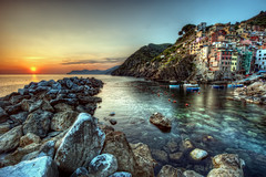 Cinque Terre Sunset (ShutterRunner) Tags: ocean sunset italy water architecture buildings coast terre hdr cinque riomaggiore