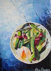 "Leeks with an egg, a green salad and jerked ham 2015 OIL ON CANVAS by Alisa Denoizz 14""x20""  #OilPainting #OilOnCanvas #PaletteKnife #TexturePainting #TextureArt #Impasto #Textures #FoodArt #KitchenArt #Leeks #Egg #Salad #JerkedHam #AlisaDenoizz (alisa_denoizz) Tags: oilpainting oiloncanvas paletteknife texturepainting textureart impasto textures foodart kitchenart leeks egg salad jerkedham alisadenoizz"