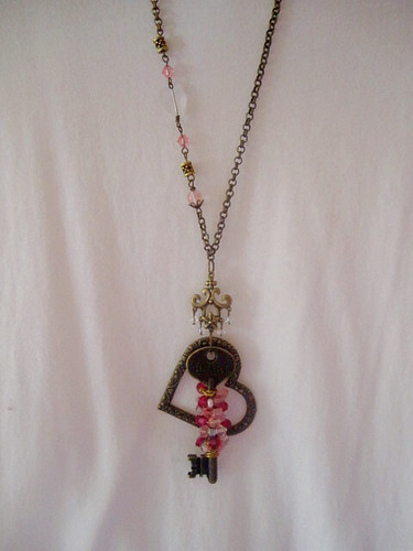 Swarovski-Czech Charm Necklace.. Wire Wrapped Key in Swarovski n Czech Beads and Heart Pendant Necklace
