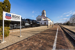 The Boise Train Depot (www.alexsommersphotography.com) Tags: city blue winter sky brick clouds train canon eos id traintracks historic idaho boise walkway 7d depot unionpacific locomotive usm dslr efs hdr 1022 manfrotto photomatix cs5 f354 elevation2753 httpwwwalexsommersphotographycom