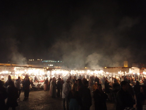 At night the square transforms into fuming dragon