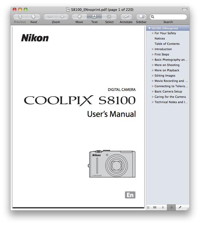 Nikon S8100 Manual
