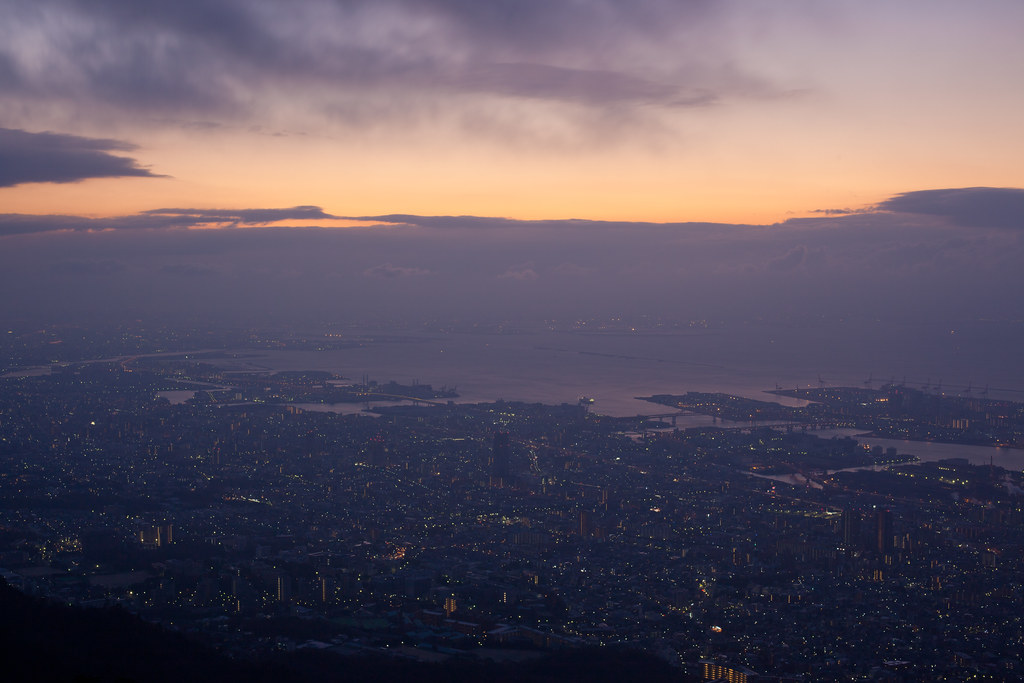 Sunset over Osaka bay