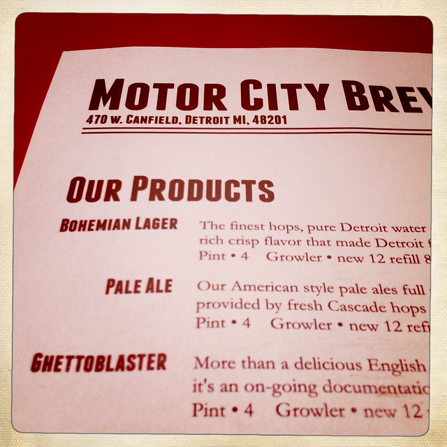 Motor City Brewing Menu