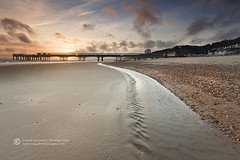 To The Pier (Frank L 2008) Tags: sunset beach clouds pier pebbles dorset boscombe