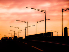 UrbanSky (wesbs) Tags: sunset sky urban cars highway driving streetlights explore bluehour turnpike 95 goldenhour taillights hss urbansky explored sliderssunday newjerrseyturnpike