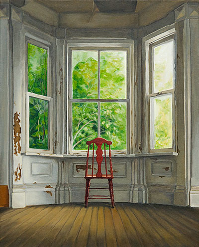 a painting by Michelle Basic Hednry called Waiting - Red Chair