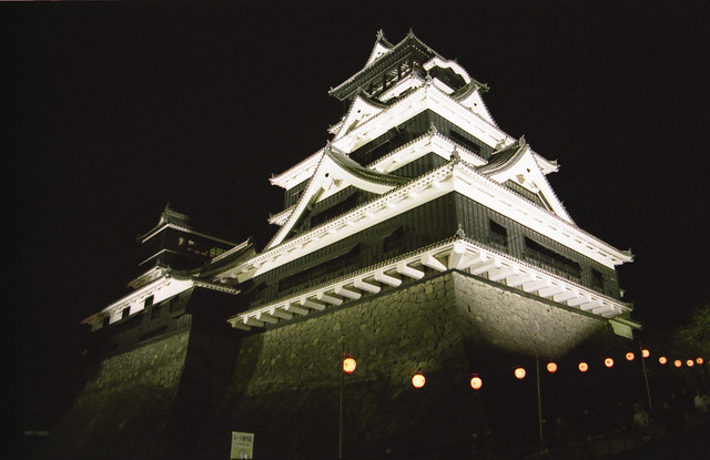 夜の熊本城のフリー写真素材