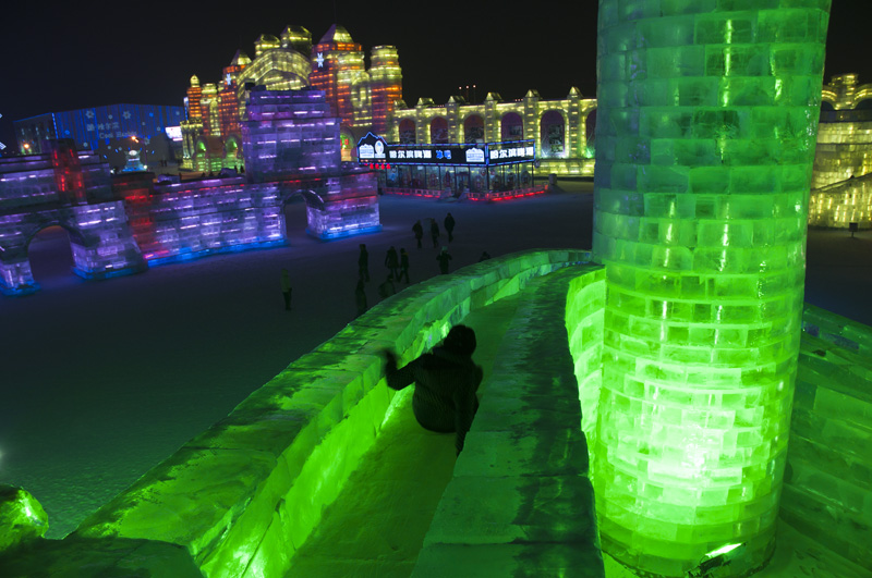 One of the many slides built into the ice castles.
