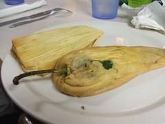 Chile relleno and pork tamale