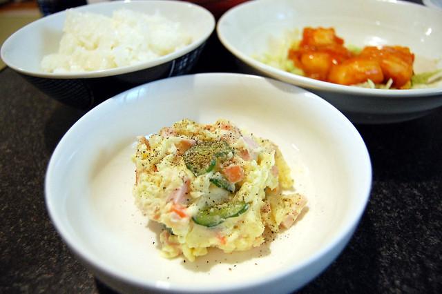 ポテサラ魚肉ソーセージ入り。これウマイわ。 #jisui