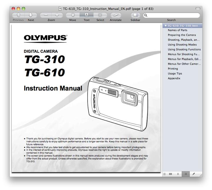 Olympus TG-310 Manual