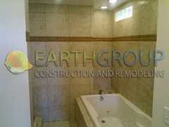 wilmette-bathroom-remodeling_08 (Earthgroup Construction) Tags: green tile bathroom bath board jacuzzi installation bathtub framing remodeling greenboard