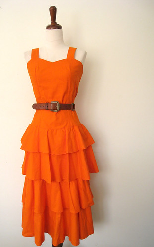 Freshly Squeezed Bright Orange Ruffled Sun Dress, vintage 80's