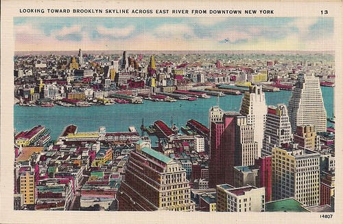 Looking Toward Brooklyn Across East River (Postcard)