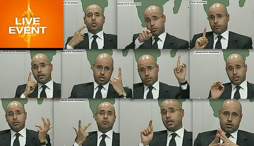 Los gestos de Saif El Islam Gadafi durante el discurso