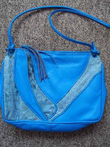Blue Purse with Snake Skin Detail