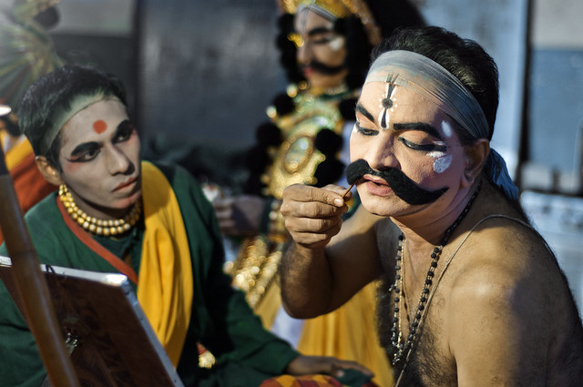 Portrait of Keremane Shivanand Hegde Getting Ready for Yakshagana alt. How To Wear Your Moustache the Right Way