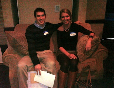 Mitch Barley and Abby Grimm, sitting on their