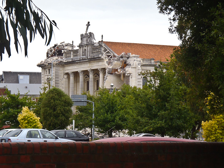 damage from the earthquake to Christchurch's Catholic Cathedral in City Centre