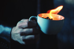 7/52 (-Fearless-) Tags: blue winter reflection cup coffee paper fire hands hand photoshoot tea coffeecup coat flames first flame teacup tones flaming edit onfire firstpicture accelerant ireallyhavealwaysadmiredhishands
