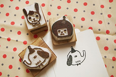 Hand Carved Rubber Stamps (Minifanfan Eng) Tags: elephant cute rabbit girl animals writing cards words drawing mini characters greeting rubberstamps notecards handcarved papergoods