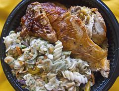 Half Chicken (Harris Graber) Tags: food chicken vegetables pasta bargain s90 cheapeats rotisseriechicken halfchicken tradefairsupermarket canons90