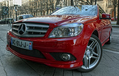 HDR red Mercedes-Benz C220 CDI with AMG wheels (_PEC_) Tags: world auto park red paris france cars c220 car canon rouge photo george rojo automobile pix photographie image diesel coins parking wheels picture pic voiture des v mercedesbenz carro rue  rues hdr amg cdi wagen  pec machina 75008 2011  merco  s   worldcars q paris08 5dmarkii ch  ling shn