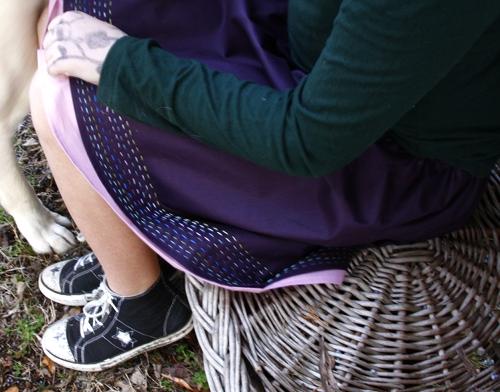 woven.seat.stitched skirt
