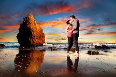 True Story (Extra Medium) Tags: sunset reflection love beach rock engagement kissing couple malibu bianca kc winning warlock charliesheen elmatadorstatebeach drugnamedcharliesheen