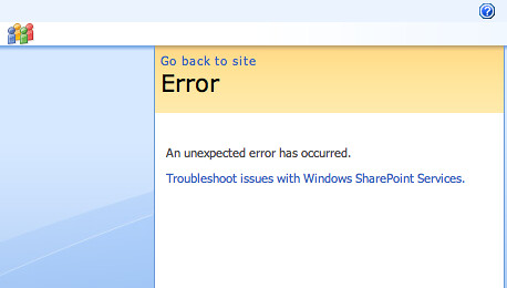 An unexpected error has occurred.