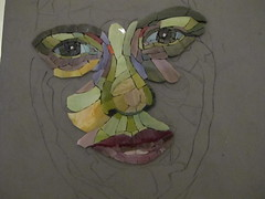 Carol Shelkin portraiture workshop WIP (Ginny Sher) Tags: portrait art face mosaic stainedglass workshop
