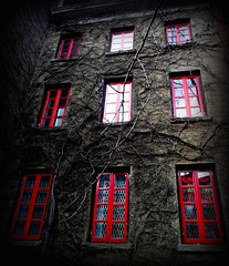 """I'm mad at midnight for the things it didn't do, that doesn't mean I wouldn't take a chance again."" (Manhattan Girl) Tags: nyc trees windows red nature buildings reflections dark vines forsale manhattan westvillage creepy ilovered redwindows coolwindows explored greatquotebyrodmckuen featuredonredbubbleswebsitehomepageon312"