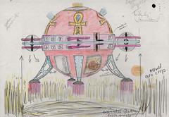 Colour sketch of a 'spaceship' creating crop circles