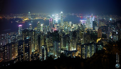 Hong Kong 15mm (Jrg Dickmann) Tags: china leica city longexposure urban topf25 skyline night hongkong nightshot wideangle 15mm voigtlnder victoriapeak m9 heliar superwide jrgdickmann